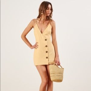 Reformation yellow linen cayman dress